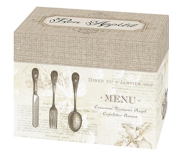 Lillian Rose Bon Appetit Recipe Card Box - Tan