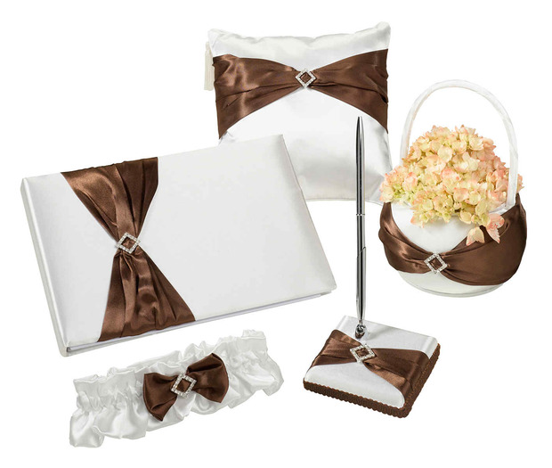 Lillian Rose Brown Satin Wedding Set
