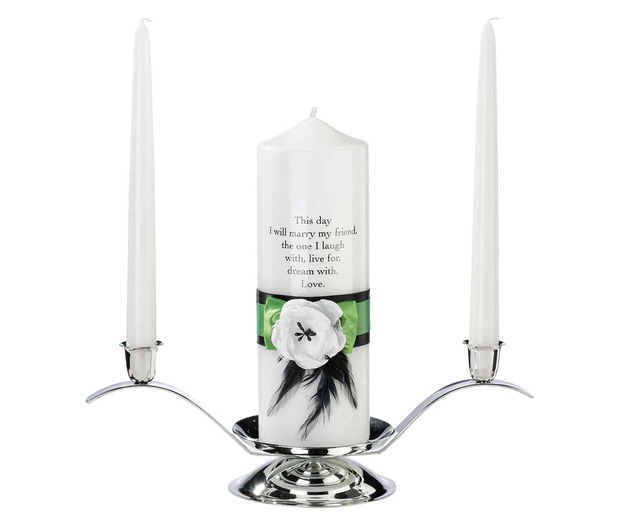 Lillian Rose Green & Black Candle Set