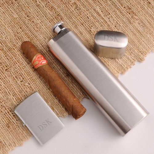 JDS Personalized Cigar Case Flask and Zippo Lighter Combo