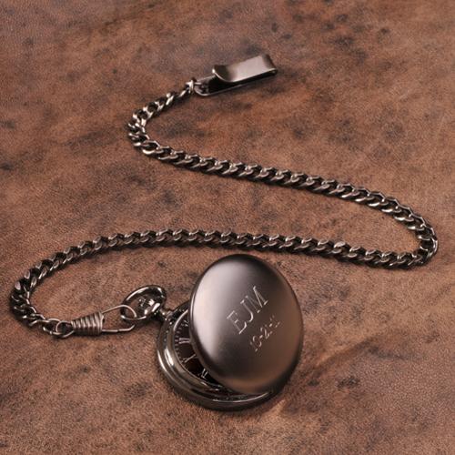 JDS Personalized Gunmetal Pocket Watch