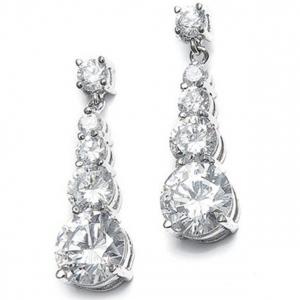 Mariell CZ Graduated Dangle Bridal Earrings