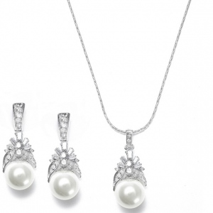 Mariell Pearl and CZ Baguettes Necklace Set