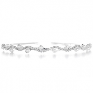 Mariell Wavy Rhinestone and Pearl Headband