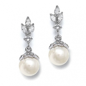 Mariell CZ Marquis Trio Earrings with Pearl Drop