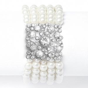 Mariell Vintage Ivory Pearl Stretch Bracelet