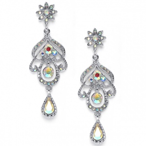 Mariell Abstract Iridescent AB Chandelier Earrings