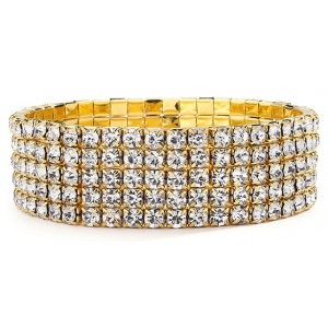 Mariell 5-Row Stretch Gold Rhinestone Bracelet