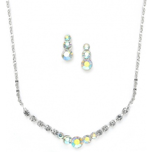 Mariell Dainty AB Crystal Rhinestone Prom Or Bridesmaid Necklace Set