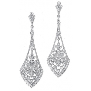 Mariell Dramatic Gold Vintage CZ Bridal Earrings