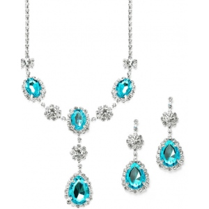 Mariell Rhinestone Prom & Bridesmaid Necklace Set with Teal Teardrops