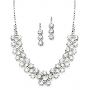 Mariell White Pearl & Silver Rhinestone Bridal Necklace Set with Daisies
