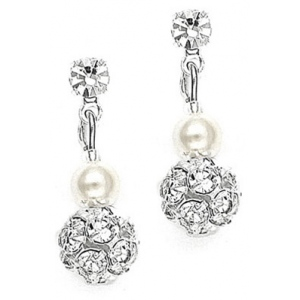 Mariell Dainty Wedding Earrings with Pearl & Rhinestone Fireball