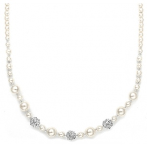 Mariell Best Selling Bridal Necklace with Pearls & Rhinestone Fireballs
