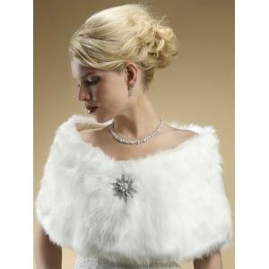 Mariell Faux Fur Bridal Wrap with Pure White Fox