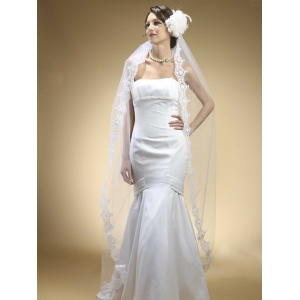Mariell Floor Length Wedding Mantilla Veil with Lace