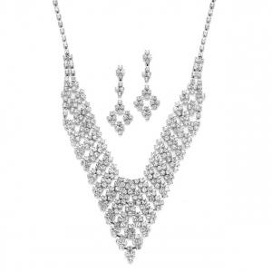 Mariell Rhinestone Vintage Bib Necklace & Earrings Set