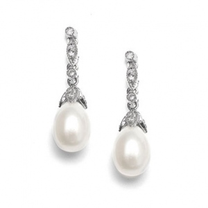 Mariell Freshwater Pearl Vintage Bridal Earrings