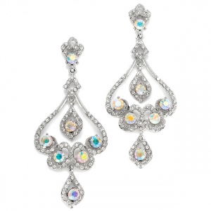 Mariell Vintage Wedding Chandelier Earrings with Scrolls