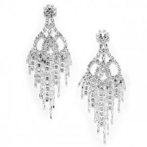 Mariell Rhinestone & Beads Prom Chandelier Earrings