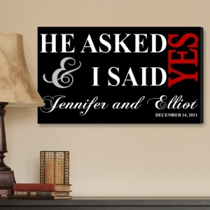 JDS Personalized Canvas Print: I Said Yes, Black