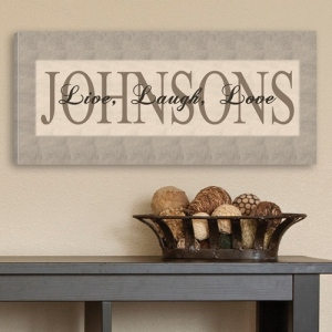 JDS Personalized Canvas Print: Grey, Live, Laugh, Love