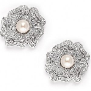 Mariell Vintage Cubic Zirconia Pave flower Wedding Earrings with Pearl