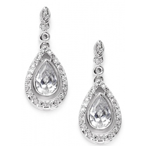 Mariell Cubic Zirconia Bridal Earrings with Pear Teardrops