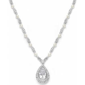 Mariell Victorian Bridal Necklace with Pearls & Cubic Zirconia Teardrop