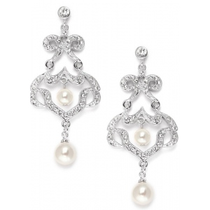 Mariell Best Selling Bridal CZ Chandelier Earrings with Ivory Pearls