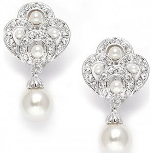 Mariell Art Deco Cubic Zirconia & Pearl Drop Wedding Earrings
