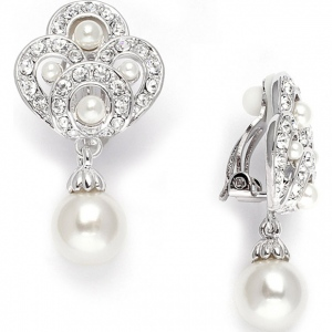 Mariell Art Deco Clip- On Wedding Earrings in Cubic Zirconia & Pearl