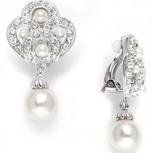 Mariell Art Deco Clip- On Wedding Earrings in Cubic Zirconia & Pearl