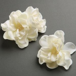 Mariell Ivory Silk Gardenia Trio Flower Hair Clips for Brides