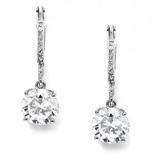 Mariell 2 Ct. Cubic Zirconia Bridal Or Bridesmaids Drop Earrings
