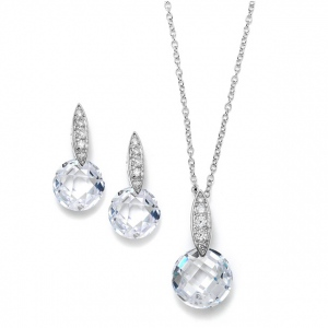 Mariell Faceted Crystal Drop Necklace and Earrings Set with Cubic Zirconia