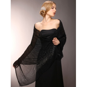Mariell Sheer Crinkle Evening Shawl with Scattered Crystals