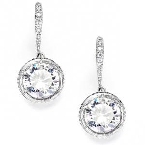 Mariell Vintage Cubic Zirconia Dangle Wedding Earrings