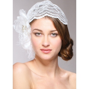 Mariell Juliet Bridal Cap with Dark Ivory Lace, Organza flower & Feather Hair Clip