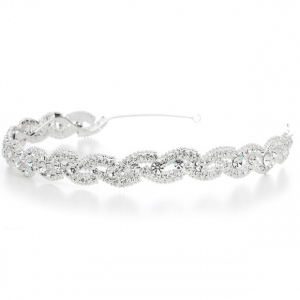 Mariell Lustrous Silver Wedding Headband with Crystal Braid