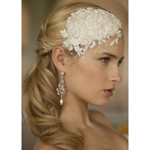 Mariell Retro Lace and Silk Bridal Cocktail Hat with Wide Netting