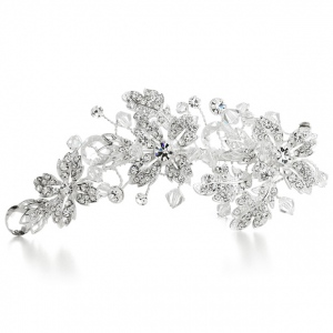 Mariell Crystal Spray Bridal Hair Clip with Faceted Teardrops