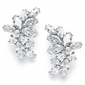Mariell Shimmering Cubic Zirconia Marquis Cluster Earrrings