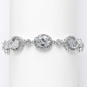 Mariell Spectacular Cubic Zirconia Ovals Wedding Bracelet