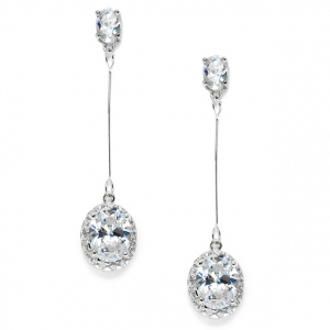Mariell Cubic Zirconia Oval Dangle Bridal, Prom Or Bridesmaids Earrings