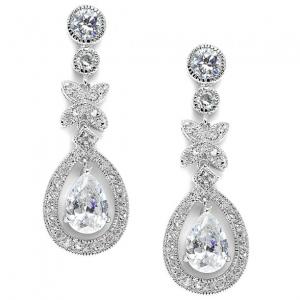 Mariell Vintage Framed Pears Bridal Earrings