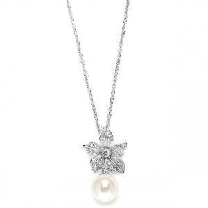 Mariell Vintage Floral Pearl Drop Wedding Pendant Necklace