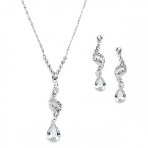 Mariell Dainty Necklace & Earrings Set with CZ Teardrops