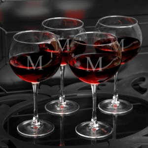JDS Personalized Red Wine Glasses: Set of 4