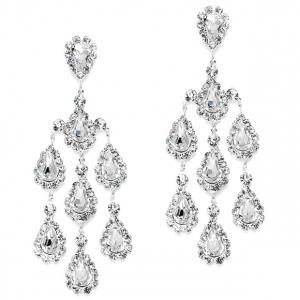 Mariell Dramatic Crystal Rhinestone Chandelier Earrings